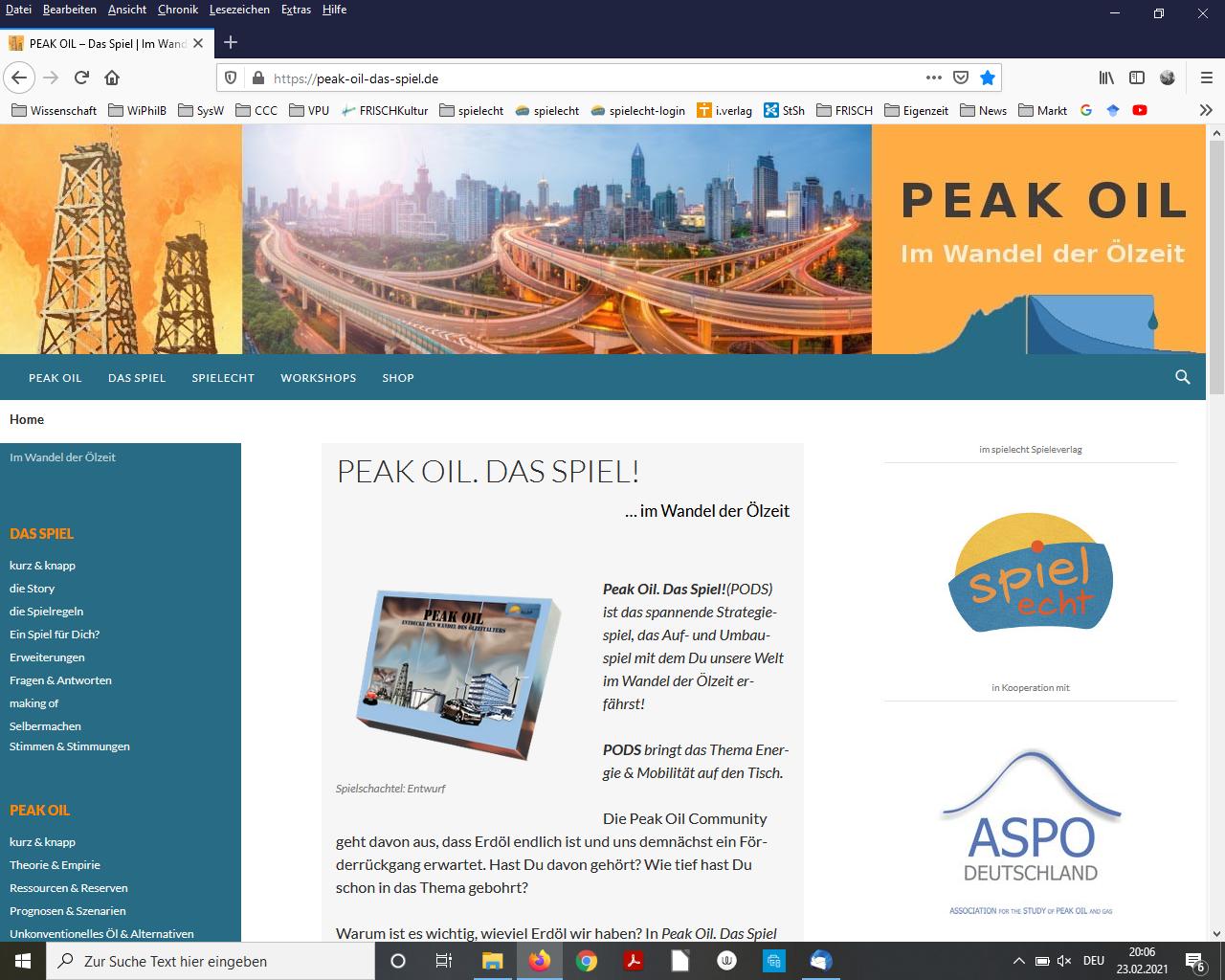 Website Peak Oil. Das Spiel